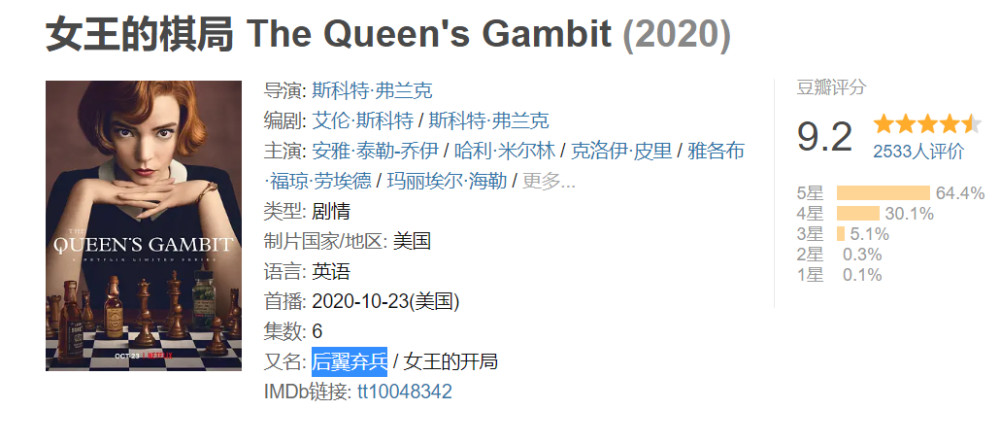 Netflix新剧女王的棋局在线观看 女王的棋局1-7集完整未删减版