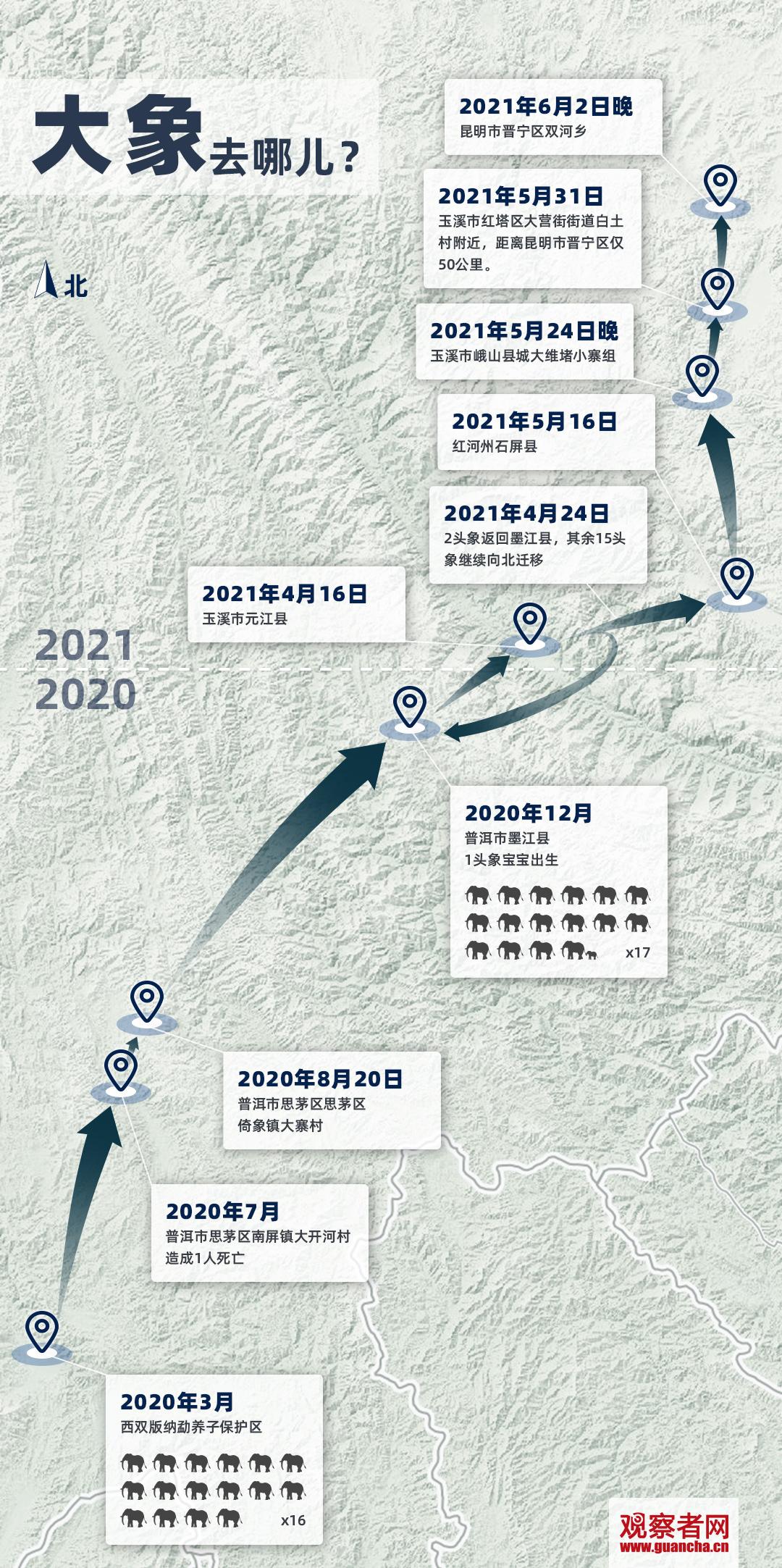 象群迁移最新动态:云南野象北迁路线图 象群北迁路线图