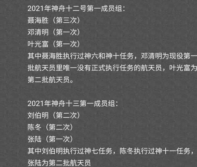 神舟十二号航天员是谁?2021神舟十二号航天员名单