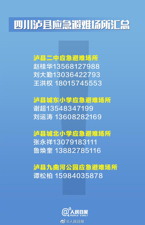 今天泸县地震最新消息 四川泸县应急避难场所汇总