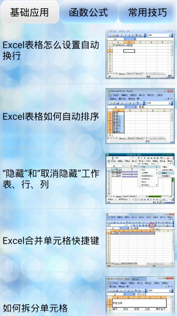 Excel教程技巧大全软件截图0