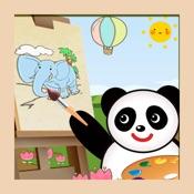 熊猫宝宝绘画和贴画大巴士