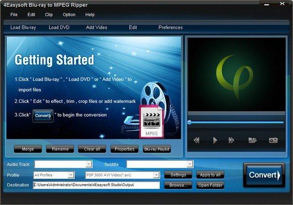 4Easysoft Blu-ray to MPEG Ripper(视频处理软件)
