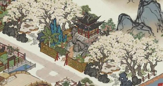 江南百景图人工湖和白色花树林怎么布局