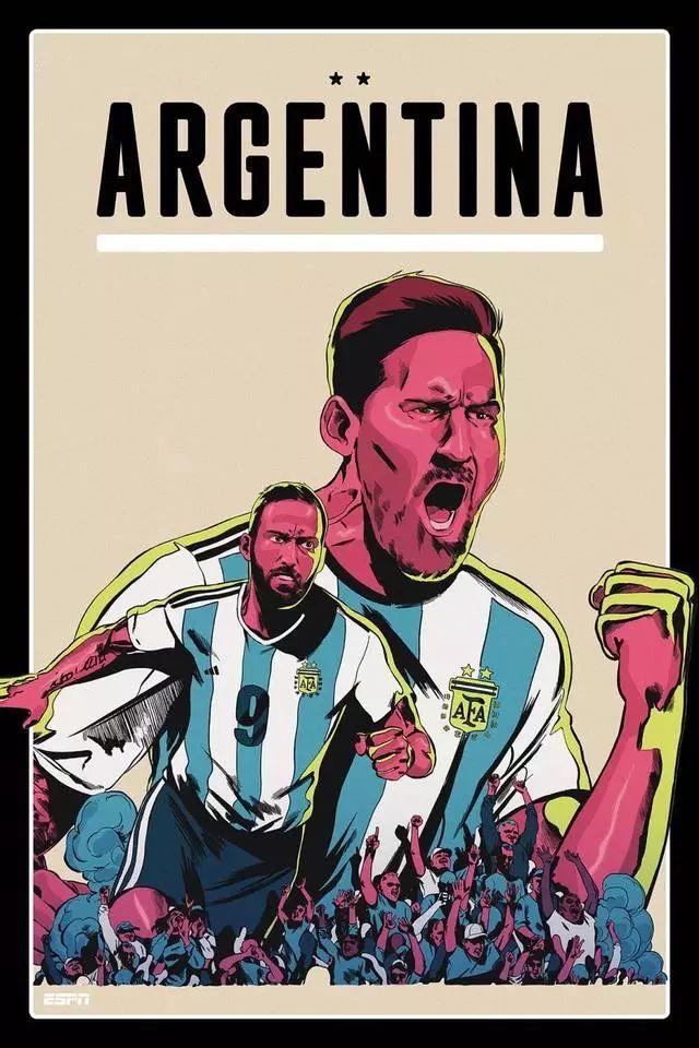 霸气宣言!世界杯海报哪家强 阿根廷梅西绝对前四强
