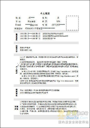 林业个人简历表格word模板下载