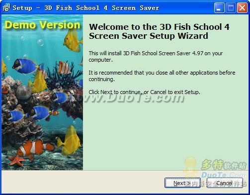 3D Fish School Screen Saver下载