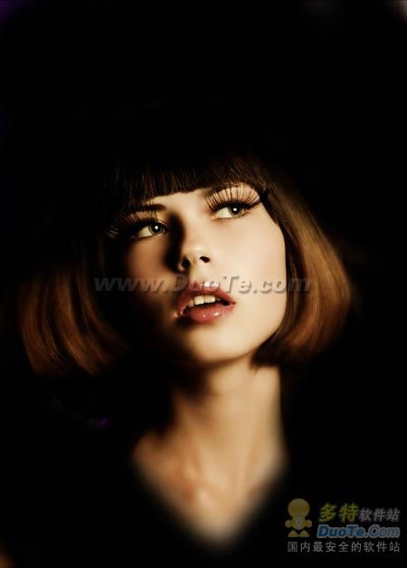 Photoshop给美女图片加上梦幻的彩色光束
