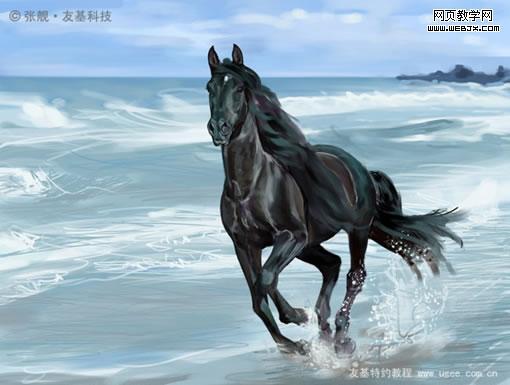 Painter绘制海边奔马