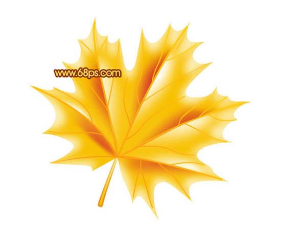 Photoshop鼠绘金黄色的枫叶