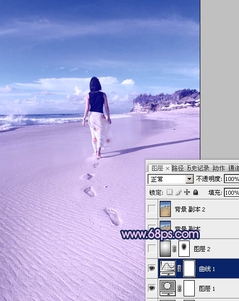 Photoshop调出照片幽幽的紫色调