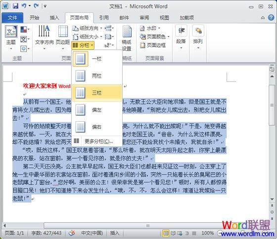 Word2010怎么分栏