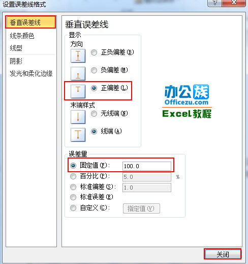 Excel2010图表添加误差线