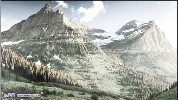 ps照片处理-将夏季雪山瞬间变为冬季效果