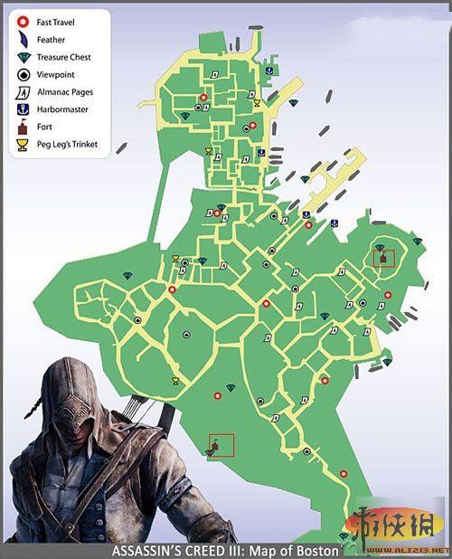《刺客信条3》堡垒详细分布图