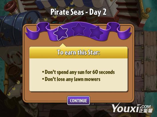 《植物大战僵尸2》海盗第二关教程1星版