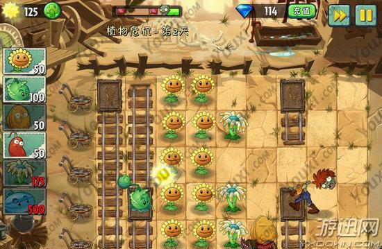 《植物大战僵尸2》中文版狂野西部植物危机第二天游戏攻略