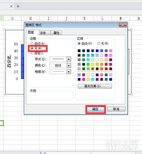 WPS表格转换的柱形图或者扇形图图表外的黑色边框怎么去掉