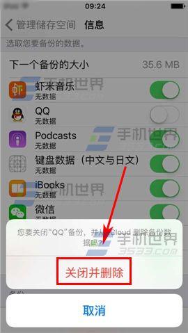苹果iPhone6S如何删除云备份