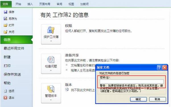 excel2010文档怎么加密