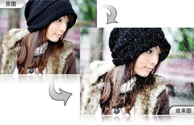 曼妙雪景!怎么制作雪景图?彩影打造雪景图片教程